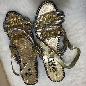 Famous made in Italy gold & silver sandals sz 7